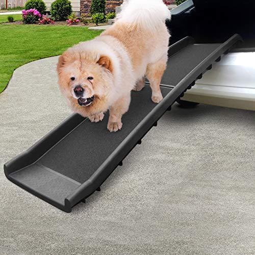 Leopet® Hunderampe - Klappbar, rutschfest, Leicht, Stabil, Max 90 kg, Kunststoff, Schwarz (Größenwahl) - Kofferraum, Sofa, Bett Einstiegshilfe für Haustier