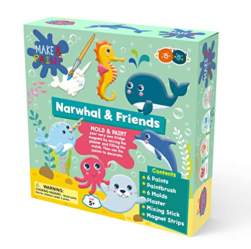 Buddy & Barney | Make & Paint Moulds - Narwhal | Mould, paint your own fridge magnets/ornaments. Arts & Crafts Kit for Kids. BB131