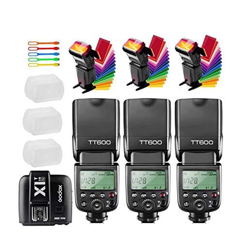 Godox 3X TT600 High Speed Sync 2.4G Wireless Camera Flash Speedlite Light with Godox X1T-N Remote Trigger Transmitter Compatible for Nikon Cameras & 3X Diffuser & CONXTRUE USB LED