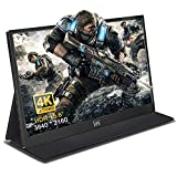 Portable Monitor, Travel Monitor, 15.6 inch 4K 3840x2160 FHD, Laptop Monitor with Mini HDMI, IPS Gaming Monitor with Speakers, PC Monitor for Laptop MAC Phone PS4 Xbox Switch… (4K)