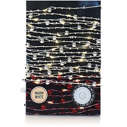 com-four® LED Lichterkette mit Perlen - Lichterkette Batterie mit 50 LEDs - LED Perlen-Girlande für Weihnachten, Geburtstag, Hochzeit oder Party (silberfarben)