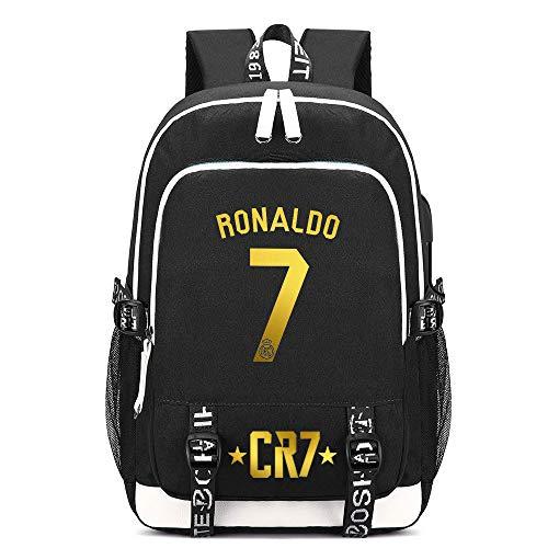 Liuying Ronaldo Backpacks Children's Backpacks Fashion Kid's School Bag Top Footballs Stars Kids High Capacity Canvas Travel Schoolbags Black,H-15inch