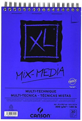 Spiralalbum, 30 Blatt, XL® Mix Media A4, 300 g/m², mittlere Körnung weiß, 5 Stück