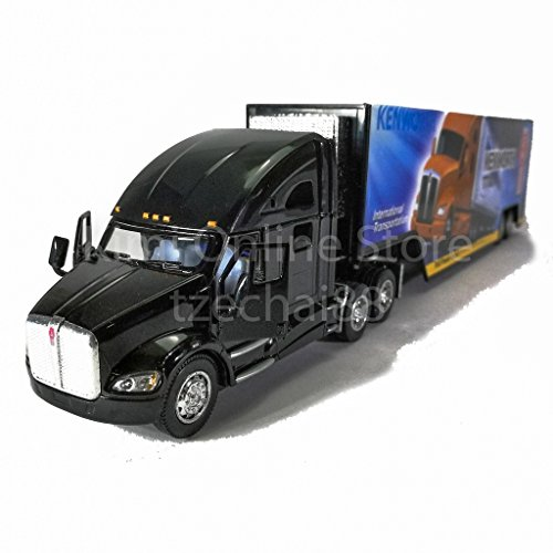 KiNSMART 1:68 Die-cast Kenworth T700 Container Truck Black Color Model Collection New Gift