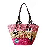 Women Straw Shoulder Bag Flower Straw Beach Tote Handbag, Starfish Bag for Shopping Outdoor (Pink)