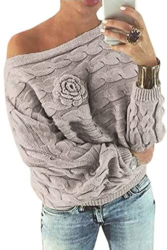 YOINS Schulterfrei Oberteile Damen Herbst Winter Off Shoulder Pullover Pulli für Damen Loose Fit mit Blumenmuster Aktualisierung-beige S