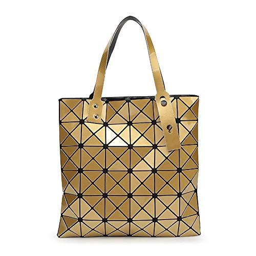 QXbecky Bolso de Hombro Bolso de rombo geométrico Bolso de Hombro para Mujer Bolso de Marea de Estilo japonés portátil Bronce Mate 32,5x32,5 cm