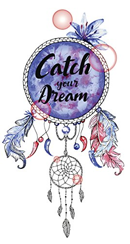 Divine Designs Catch Your Dream Calligraphy on Pastel Watercolor Dream Catcher Vinyl Decal Sticker (4' Tall)