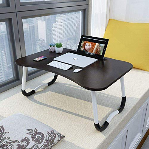 Foldable Bed Tray Lap Desk, Portable Lap Desk with Phone Slots Notebook Table
