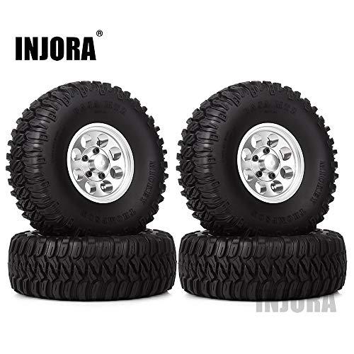 INJORA 1,55 RC Crawler Reifen Set mit Beadlock Felgen 4Pcs Tires mit Räder für 1/10 RC Crawler RC4WD D90 TF2 Tamiya CC01 LC70 LC80 AXIAL AX90069 utv Can-Am MST JIMNY (Silber)