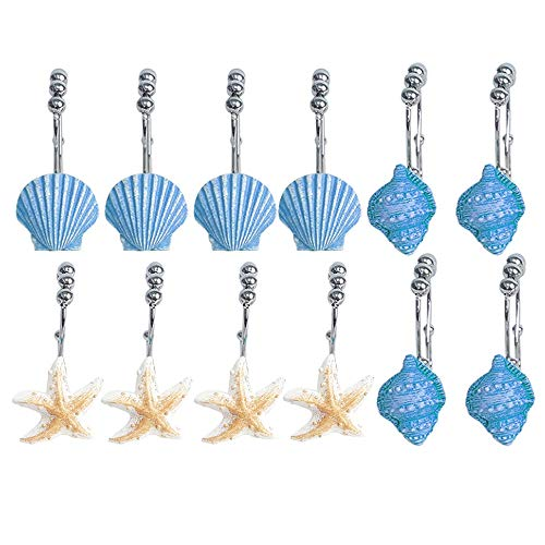 Seashell Shower Curtain Dual Stainless Steel Hooks, Anti Rust Decorative Resin Double Hooks for Bathroom, Baby Room, Bedroom, Living Room Decor, Pack of 12 Blue