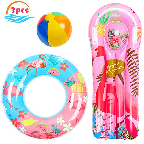 R HORSE 3 Pack Flamingo Pool Floats for Kids Adults, Inflatable Flamingo Float Raft Lounge, Swim Tube Ring, Beach Ball Pool Toys for Summer Beach Party, Swimming Pool Party, Flamingo Party
