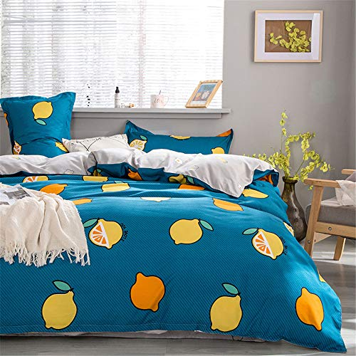 Morbuy Fruit Bedding Set Duvet Cover Set 4pcs for Double King Single Size Bed, Nordic Printed Duvet Set with 1 Quilt Case 1 Flat Sheet 2 Pillowcases (lemon,180x220cm /1.8M)