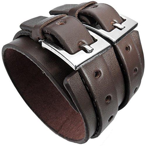 MunkiMix Metalllegierung Legierung Echtleder Armband Armreifen Manschette Silber Ton Braun Kordelkette Einstellbar Verstellbaren Passen Passend 7~9 Zoll Herren