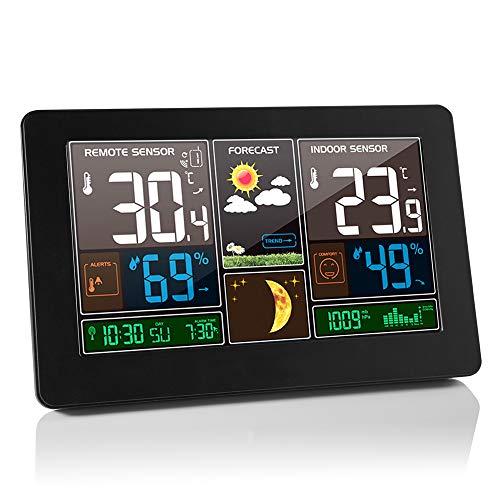 TopHGC Stazione meteorologica Wireless, termometro a Grande Schermo igrometro Previsioni meteorologiche Fasi lunari con sensore Interno Esterno