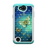 MAOOY Hülle LG X Power2, LG K10 Power Glitzer Hülle, Glitter Diamant & Malerei Hartplastik Handytasche mit Abnehmbar Weich Silikon innerer Fall für LG X Power2, Gold Blauer Schmetterling