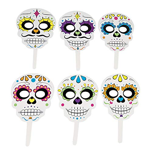 Day The Dead Handheld Masks (6 pieces) Halloween Party Supplies, D