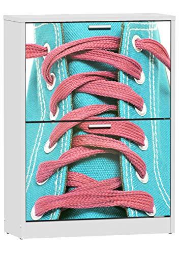 Miroytengo Zapatero Cordón 2 Puertas Abatibles con Impresión Pasillo Recibidor Entrada Moderno Mueble 80x60x24 Cm