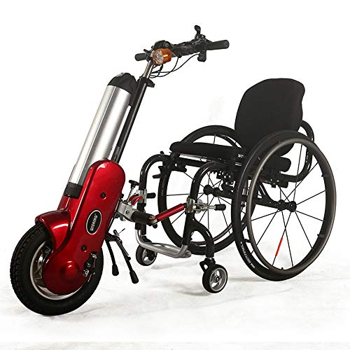 Guoz 12-Zoll-Elektro-Rollstuhl Handbike Sport Rollstuhlantrieb Manuell Rollstuhl Trailer Kopf-Generation,Rot
