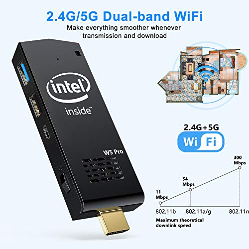 W5 PC Stick Intel Atom Z8350 Windows 10 64bit 2GB DDR3/32GB eMMC Stick Computer, 4K HD, 2.   4/5G Dual Band WiFi, Bluetooth 4.2
