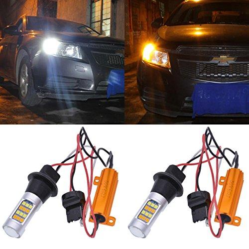 Tuincyn 7440, 7440NA, 7441, 992, T20 Ampoules blanc / ambre Interrupteur LED Blinker Canbus sans erreur 2835 42SMD Résistances de charge de 800 lumens 12V 50W 6ohm Lot de 2
