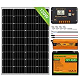 ECO-WORTHY High Efficiency Off Grid Monocristalino 120W 12V Kit de panel solar 0.48KWH / día: Panel solar mono de 120W y batería LifePO4 de 20Ah e inversor de 600W y controlador de carga solar de 20A