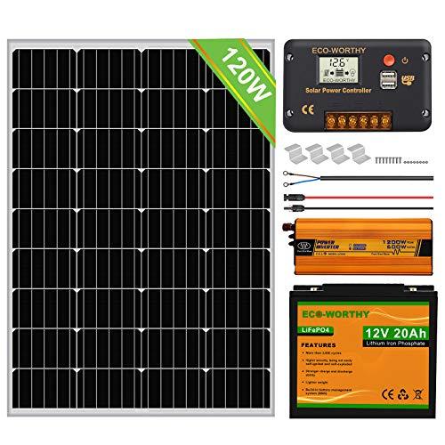 ECO-WORTHY Panneau solaire monocristallin 100W + Contrôleur de charge PWM à écran LCD 20A + Câbles