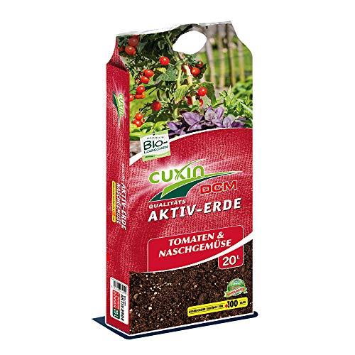 Cuxin Bio Tomatenerde 20-80 l Erde für Tomaten und Gemüse mit 100 Tage Dünger für gesunde und kräftige Pflanzen +Bodenanalyse-Gutschein (20l)