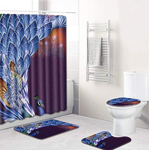 EZEZWSNBB 4-teiliges Duschvorhang-Set mit rutschfesten Teppichen, WC-Deckelbezug und Badematte, Blauer Tierpfau-Duschvorhang wasserdicht mit 12 Haken 180x180 cm Haus Dekoration