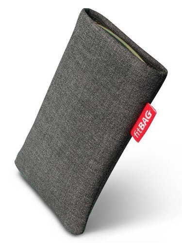 fitBAG Jive Grau Handytasche Tasche aus Textil-Stoff mit Microfaserinnenfutter für ASUS M930