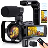 4K Video Camera WiFi Camcorder, Vlogging Camera 48MP 60FPS IR Night Vision IPS Touch Screen for YouTube, Digital Camera with 16X Digital Zoom, Microphone, Stabilizer, 2.4G Remote Control, 2 Batteries