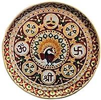 rr handicrafts Stainless Steel Peacock Print Meenakari Work (Gold)