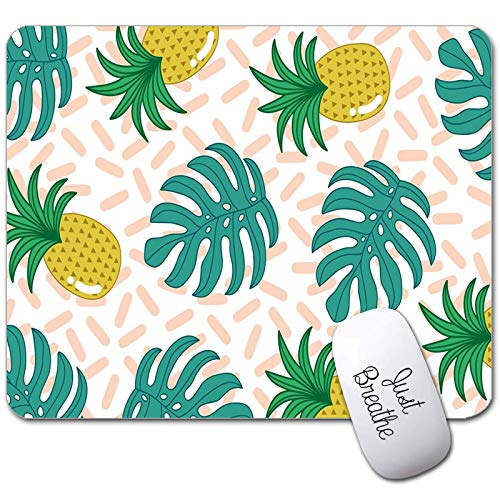 Pineapple Mouse Pad, Gaming Mousepad Custom Tropical Palm Leaves Rectangle Mousepad for Laptop Computer Mouse Mat Pad with Laptop Sticker