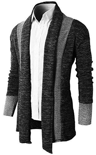 Brinny Herren Strickjacke Open Jacke Lang Cardigan Knit Mantel Strick Jacke Hoodie Hoody Sweatshirt Sweatblazer, schwarz Gr. M (Herstellergroesse L)