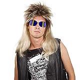 Xiaojmake 80's Blonde Mullet Wig for Men Redneck Joe Dirt White Trash Costume Wigs Women (Gold)