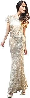 Cosplay-X Women's Elegant Glitter Sequins Short Sleeve Maxi Runway Evening Dress
