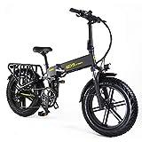 GDSEBIKE Electric Bike for Adults 20' ebike Full Suspension 750W Motor Fat Tire Electric Bike Mountain Beach Snow Bike 48V 14Ah Removable Battery 35MPH