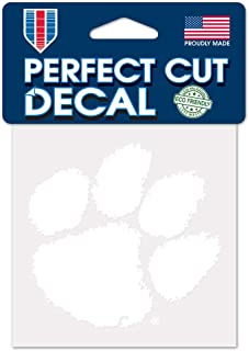 WinCraft NCAA Clemson Tigers 4x4 Perfect Cut White Decal, One Size, Team Color