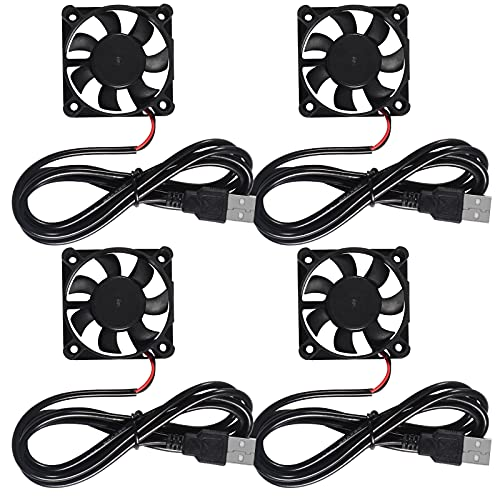 ALAMSCN 4PCS USB Brushless Cooling Fan 50mm DC 5V 5010 3D Printer Fan for 3D Printer Computer Case Small Appliances Series Replacement