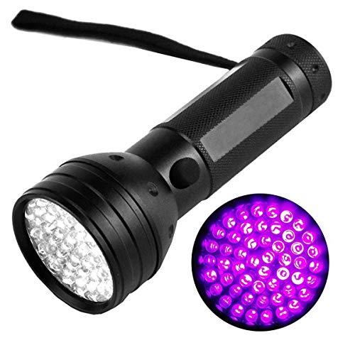 MRZ UV Taschenlampe Schwarzlicht Für Trockene Haustiere Urin 51 LED Handlampe Aus Alulegierung 395nm UV Blacklight Taschenlampendetektor Und Flecken ,Heimtierurindetektoren. (Color : Black)
