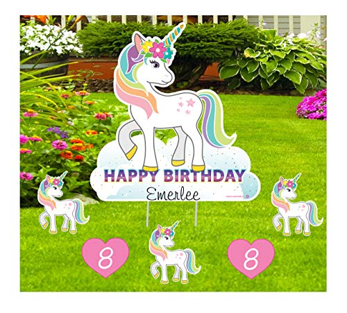 Unicorn Birthday Yard Sign 6 Piece Set, Happy Birthday Outdoor Personalized Lawn Decoration Card, Honk Its My Birthday Party Celebration Art, Custom Name and Any Age Hearts Greeting Gift for Girls
