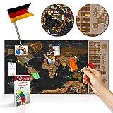 decomonkey Rubbelweltkarte Pinnwand DEUTSCH 90x45 cm Weltkarte zum Rubbeln mit Fahnen/NationalfLaggen Rubbelkarte Full HD Scratch Off World Travel Map Landkarte inkl. 50 Markierfähnchen...
