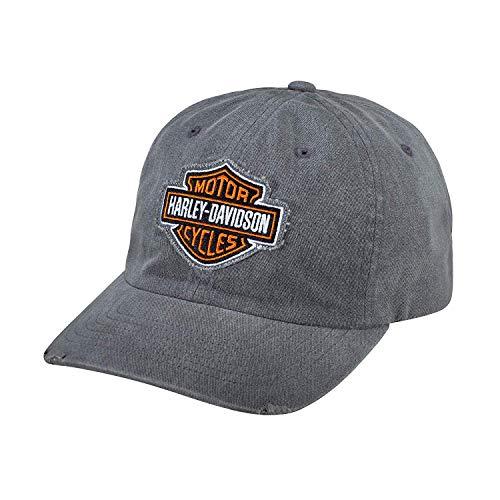Harley-Davidson - Berretto da uomo con logo sfilacciato, grigio
