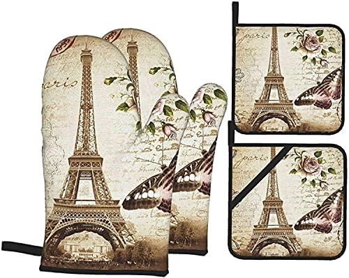 Guantes y Porta ollas para Horno de la Torre Eiffel de París Guantes Resistentes al Calor y Almohadillas Calientes Antideslizantes (Juego de 4 Piezas)
