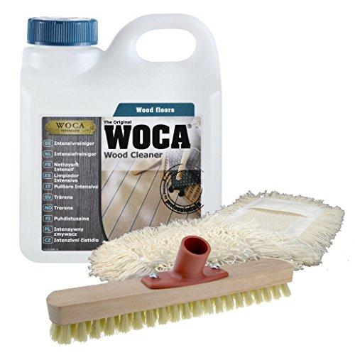 WOCA Intensivreiniger (1 Liter) inkl. Schrubber und Baumwollmop