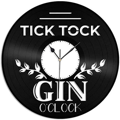 Tick O Clock Reloj de Pared de Vinilo Regalo de Recuerdo Decoración de Sala de Estar en casa Diseño Vintage Oficina Bar Habitación Decoración del hogar-No Led