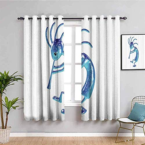ZLYYH Thermal Curtains White cartoon alien flute W110 xL94 Blackout Curtain, 2 Panels Room Darkening Blackout Window Curtain Light Block Thermal Insulated Liner Drape with Grommets for Kids Bedroom L