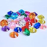 DAHI Deko Diamanten 30mm Hochzeit Streudeko Transparent Kristall 30stk Dekosteine Tischdeko Diamanten (bunt, 30x20mm)