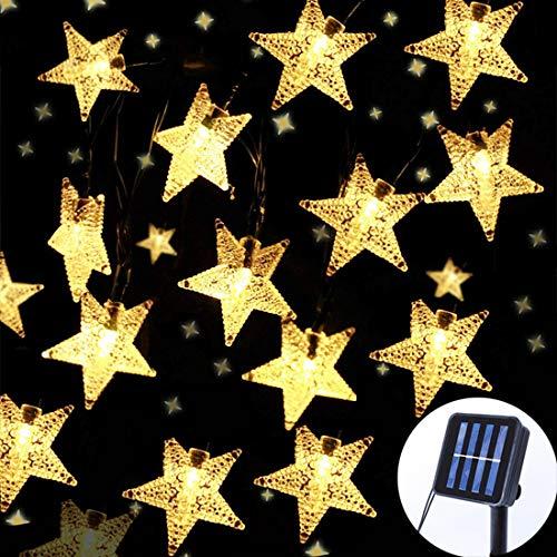 Darknessbreak Solar Christmas Lights Outdoor Star Lights String,35ft 50 LED Twinkle Fairy Solar String Lights Waterproof for Patio,Garden,Backyard,Lawn,Christmas Tree,Porch Decor.