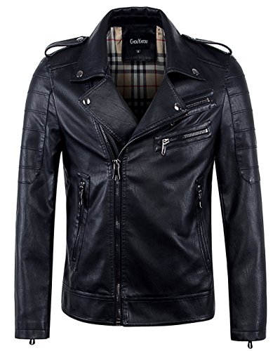 chouyatou Men's Vintage Asymmetric Zip Lightweight Faux Leather Biker Jacket (Large, Black)